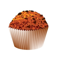 Muffin with chocolate cake object vector image vector image