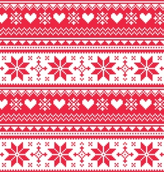 Nordic seamless knitted Christmas red pattern vector image vector image
