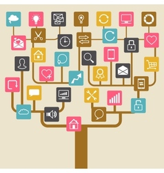 Social network tree background of seo internet vector