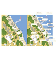 Tourist map with sea line streets marks vector image