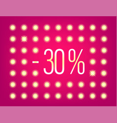 30 percent sale banner with illuminated wall vector