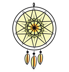 A large yellow dream catcher wall hanging modern vector
