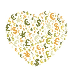 Abstract money heart vector image