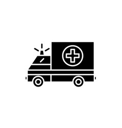 ambulance black icon sign on isolated vector image