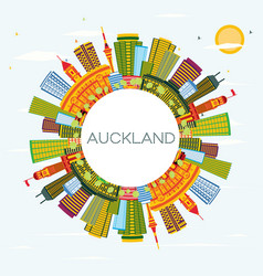 auckland new zealand city skyline with color vector image