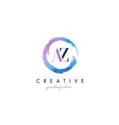 Az letter logo circular purple splash brush vector