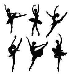 Ballet female dancers silhouettes images vector