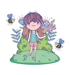 beautiful girl with bees in field characters vector image