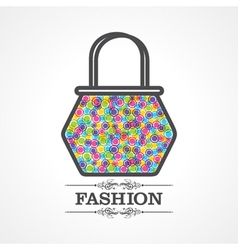Beauty and fashion icon with handbag vector image