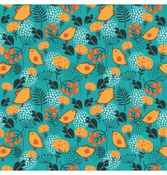 Birds and flowers seamless pattern vector image