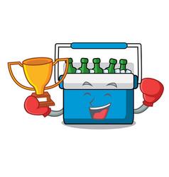Boxing winner freezer bag mascot cartoon vector