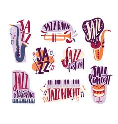 bundle jazz music inscriptions handwritten vector image