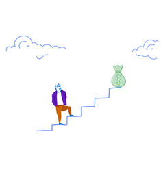 businessman climbing career ladder money bag vector image