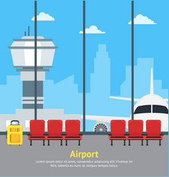 Cartoon airport waiting interior of terminal hall vector