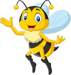 cartoon happy bee waving hand vector image