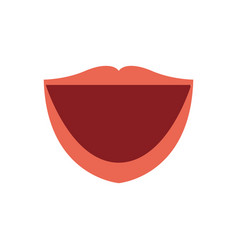 Cartoon human female mouth with red lips vector