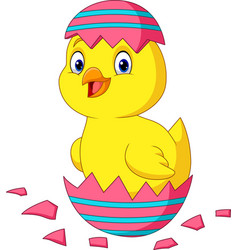 cartoon little chick hatching from an easter egg vector image
