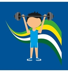 Cartoon weight lifting player brazilian label vector