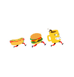 characters hamburger hot dog coffee mug logos vector image