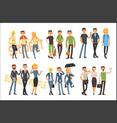 cheerful students and business people young girls vector image