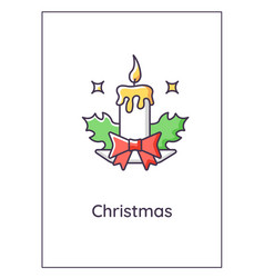 christmas eve greeting card with color icon vector image