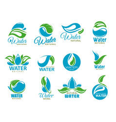 Clean water icons with blue drops and green leaf vector