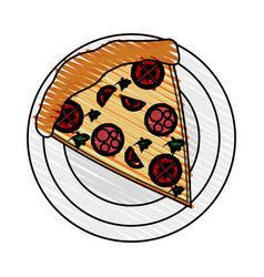 Color crayon stripe cartoon slice pizza with vector
