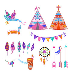 Colorful isolated cute cartoon tribal set vector
