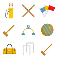 Croquet icons set flat style vector