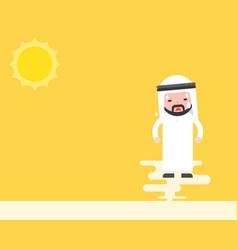 Cute arab businessmen sweating under sunlight vector