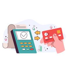 Debit credit card connecting vector