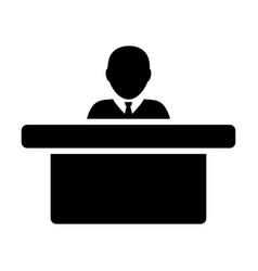 Employer icon male person avatar symbol desk vector