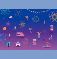 fireworks firecracker at night celebration vector image