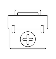 First aid kit emergency equipment thin line vector