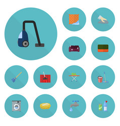 Flat icons towel housekeeping sponge and other vector