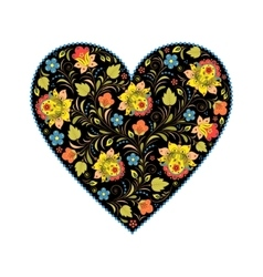 Floral heart with traditional russian pattern vector