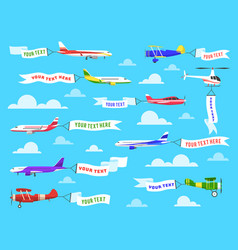 Flying advertising banner sky planes banners vector