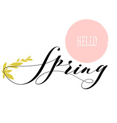 fresh hello spring lettering and growing herb stem vector image
