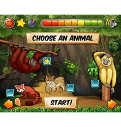 Game template with forest background vector image