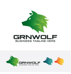 green wolf logo design vector image