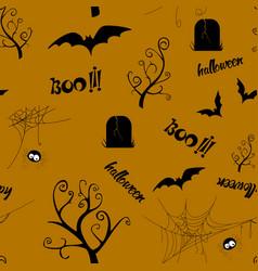 Halloween seamless pattern design with bat spider vector