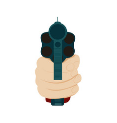 Hand holding gun in front view vector