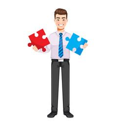 Handsome business man solving problem vector