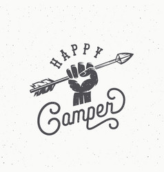 Happy camper abstract vintage sign symbol vector