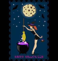 happy halloween of cute young witch with cauldron vector image