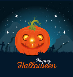 happy halloween pumpkins design vector image
