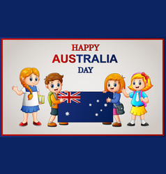 Happy kids holding a flag on australia day vector