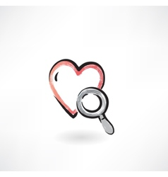 Heart Study grunge icon vector