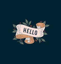 Hello retro greeting card vector