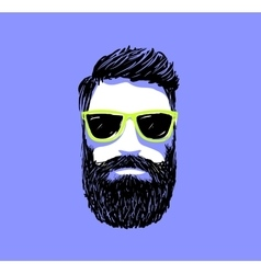 Hipster fashion bearded man portrait in sunglasses vector